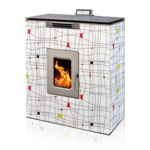 Pellet Stove For Central Heating P12 SLIM WATER+AIR GLASS DESIGN